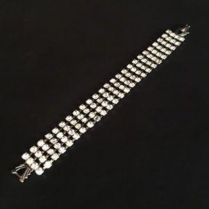 Vintage 4 strand clear rhinestone bracelet